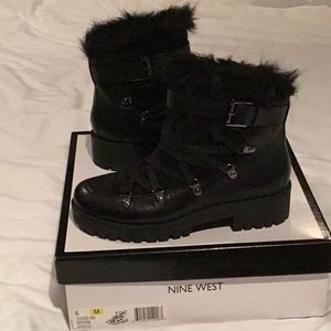 Nine West black leather hiking boots